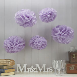 5 pompons lilas