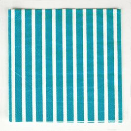 20 serviettes en papier - rayure turquoise
