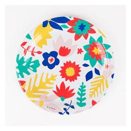 8 assiettes fleurs tropicales