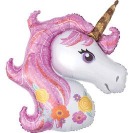 Ballon mylar tête de licorne rose