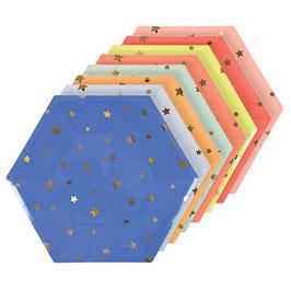 8 assiettes carton colorées imprimées étoiles