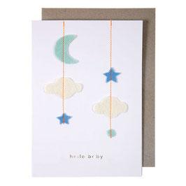 Carte félicitations naissance (nuage + étoile + lune)
