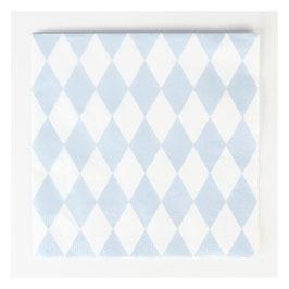 20 serviettes en papier à losange bleu