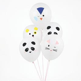5 ballons de baudruche tatoués - Mini animaux