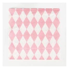 20 serviettes en papier à losange rose