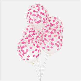 5 ballons latex confettis fuchsia