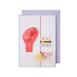 Carte ballon rose Hello