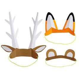 8 oreilles en papier animaux de la forêt