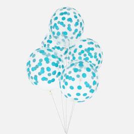 5 ballons latex confettis bleus