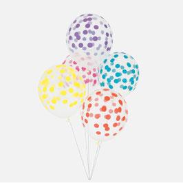 5 ballons latex imprimés confettis colorés