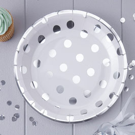 silver Foiled Polka Dot Paper Plates - Pick And Mix