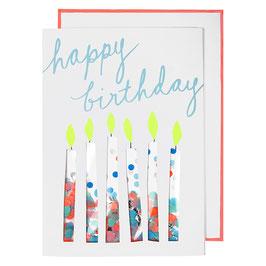 Carte anniversaire bougies confettis