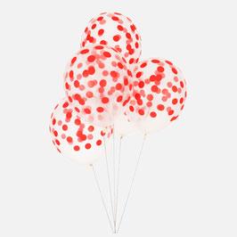 5 ballons latex confettis rouges
