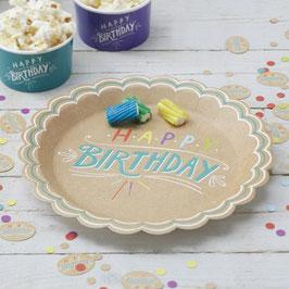 Paper Plates - Happy Birthday Kraft