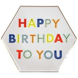 8 petites ou grandes assiettes Happy Birthday