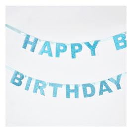 Guirlande Happy Birthday glitter bleue