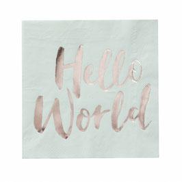 20 serviettes en papier vert menthe Hello World