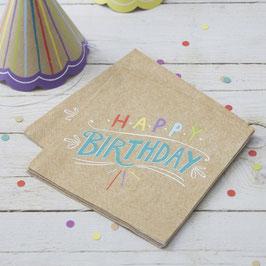 Paper Napkins - Happy Birthday Kraft