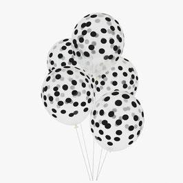5 ballons latex confettis noirs