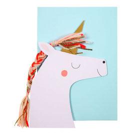 Carte Happy Birthday en fome de licorne