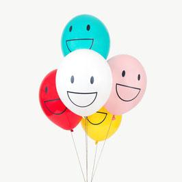 5 ballons latex tatoués Happy Faces