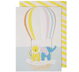 Carte félicitations naissance (montgolfière)