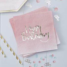 Gold Foiled Pink Ombre Happy Birthday Paper Napkins - Pick And Mix