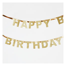 Guirlande Happy Birthday glitter dorée