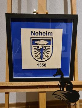 Historisches Wappen der Stadt Neheim. Filigran-Lasercut in 3D Rahmen 33x33x3cm Schwarz