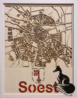 Stadt Soest, Multi-Layer Kunstobjekt, Holz, lasergeschnitten und graviert in ca.40x50cm, inkl. Holzrahmen (43x53cm)