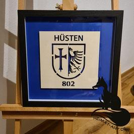 Historisches Wappen der Stadt Hüsten. Filigran-Lasercut in 3D Rahmen 33x33x3cm Schwarz