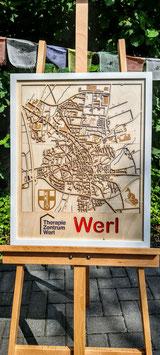 Stadt Werl, Multi-Layer Kunstobjekt, Holz, lasergeschnitten und graviert in ca.40x50cm, inkl. Holzrahmen