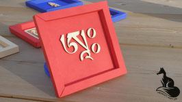 A - Tibetische Mantra Silbe in feiner Holzschrift im Karton-Rahmen - Größe  11x11x1 cm