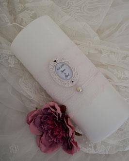 Hochzeitskerze PEARL rose-rosa