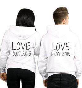 "2 x HOODIES ""LOVE"" + WUNSCHDATUM"