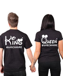 """2 x T-Shirts """"King & Queen oo"""" + Wunschtext"""