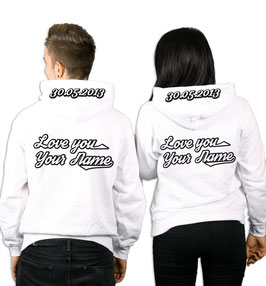 """2 x Hoodies """"Love you"""" + Wunschnamen und Wunschdatum"""