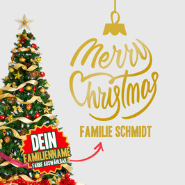 """WANDTATTOO CHRISTMAS """"4"""" MIT + FAMILIENNAME"""