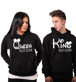 """2 x Kapuzenullover """"King&Queen oo"""" + Datum"""