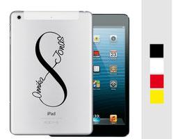 """iPad mini Sticker """"Unendlichkeitszeichen"""" und """"Wunschnamen"""""""