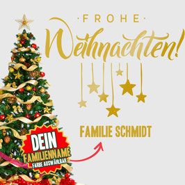 """WANDTATTOO CHRISTMAS """"6"""" MIT + FAMILIENNAME"""
