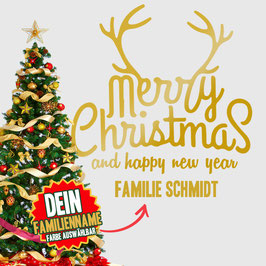 """WANDTATTOO CHRISTMAS """"7"""" MIT + FAMILIENNAME"""