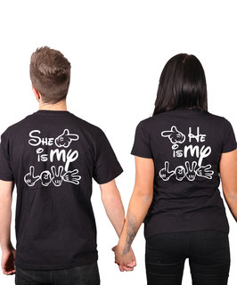 "2 x T-Shirt ""He & She is my LOVE"""