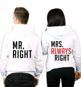 "2 x Hoodies ""Mr. Mrs. Always Right"""