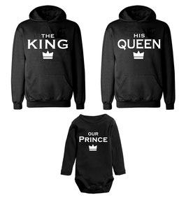"2 x Hoodie + 1 x Strampler ""The King - His Queen - Our Prince(ess)"