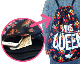 "GRAPHIC DRAWSTRING BACKPACK ""Mrs Queen"""