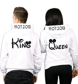 "2 x Hoodies ""King & Queen oo"" + Wunschdatum"