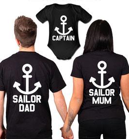 """3´ER FAMILIEN SET """"Sailor Dad - Mom - Captain"""""""