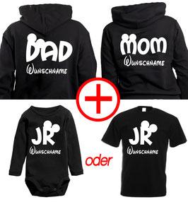 "2 x Hoodie + 1 x Strampler/o. Kinder T-Shirt ""Mom - Dad - Jr"" + Wunschnamen"