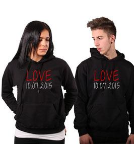 "2 x Kapuzenpullover ""LOVE"" (Wunschdatum)"